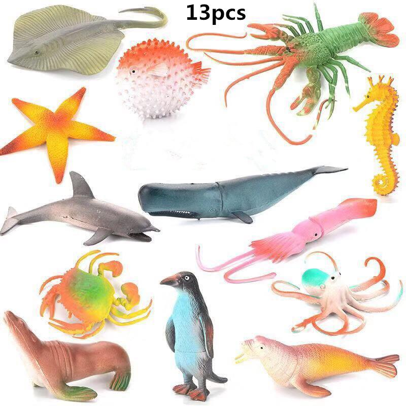 13Pcs Sea Animals Shape Modeling Toys with 8Pcs Simulate Seagrasses for Kids