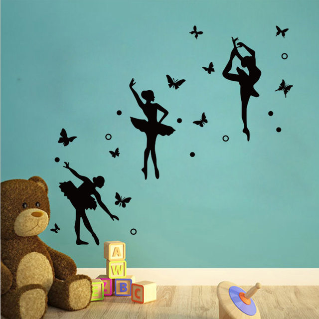 AWOO Ballet Girls Butterfly Dancing Room Decoration Gymnastics Wall Sticker  Girl Bedroom Wall Decor Wall Art Sticker Decal