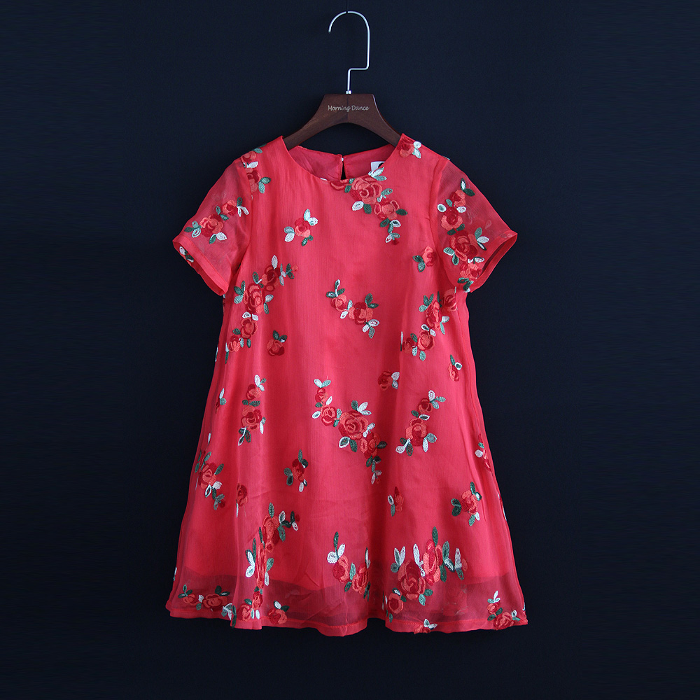 Summer mother girls matching dress family custom pregnancy women 4XL floral embroidery kids baby girl 6M-16Y A-line loose dress summer embroidery ruffled round neck dress loose robe dress