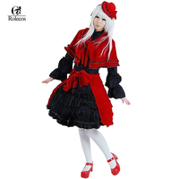 GoHands Customized Red And Black Lace Beautiful Gothic Lolita Kimono Cosplay Dress