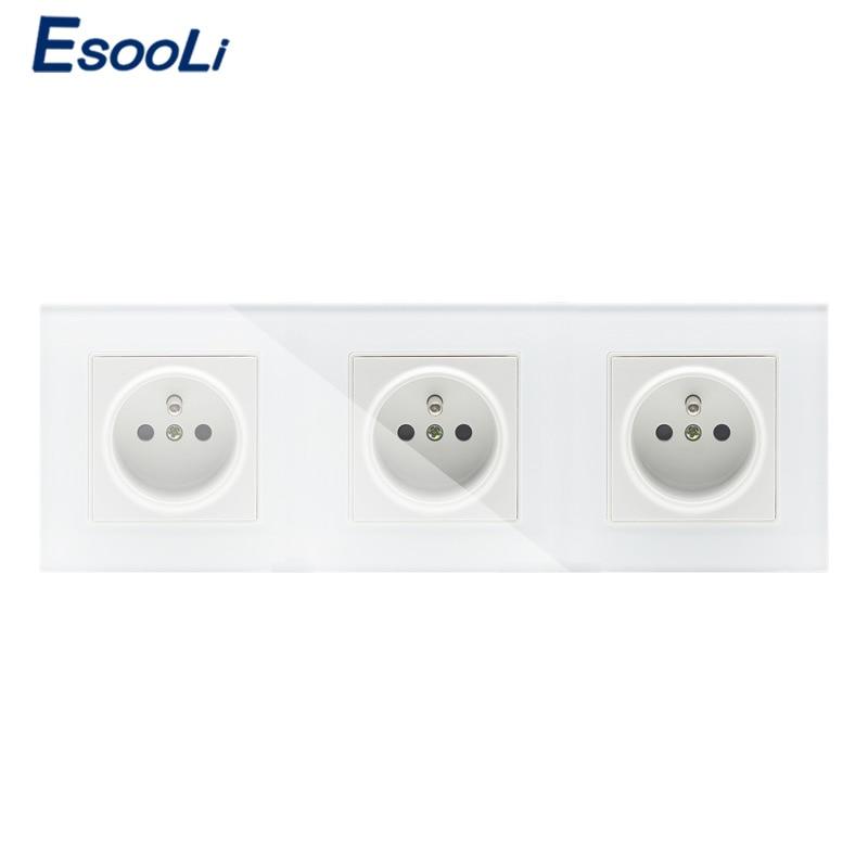 Esooli 16A French Standard, Wall Electric / Power 3 Gang 1 Way Socket / Plug, Crystal Glass Panel power socket