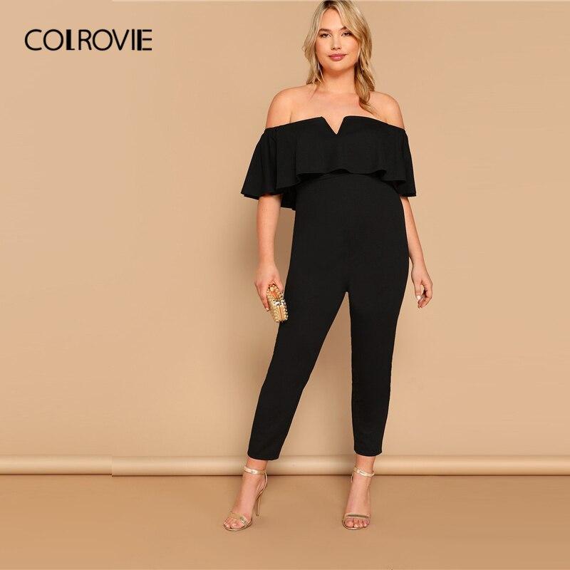 COLROVIE Plus Size Black Off The Shoulder Notched Elegant   Jumpsuit   Women 2019 Summer Half Sleeve Ruffle Zipper Party   Jumpsuits