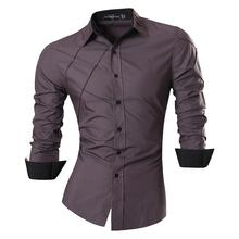 Jeansian Mens Fashion Dress Casual Shirts Button Down Long Sleeve Slim Fit Designer 2028 Gray