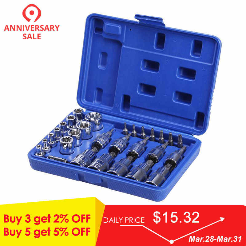 29Pcs 1/4 3/8 1/2 Torx Star Socket Bit Set of Tools Male Female E & T Sockets with Torx Bit Wrench Car Repair Tool Set Dropship