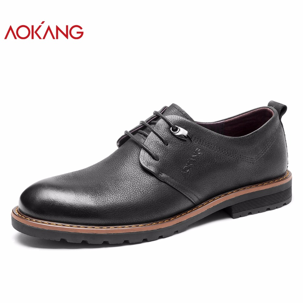 цена на AOKANG 2018 New Arrival Autumn Men casual dress shoes genuine leather shoes men fashion cow leather male shoes adult flat heels