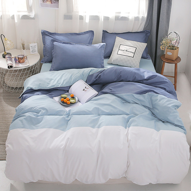 Hot Offer A0a04 Blue White Striped Bedding Set Queen King Size Bed Linne Sets Plain Reactive Printed Double Quilt Cover Bed Sheet Pillowcase Cicig Co