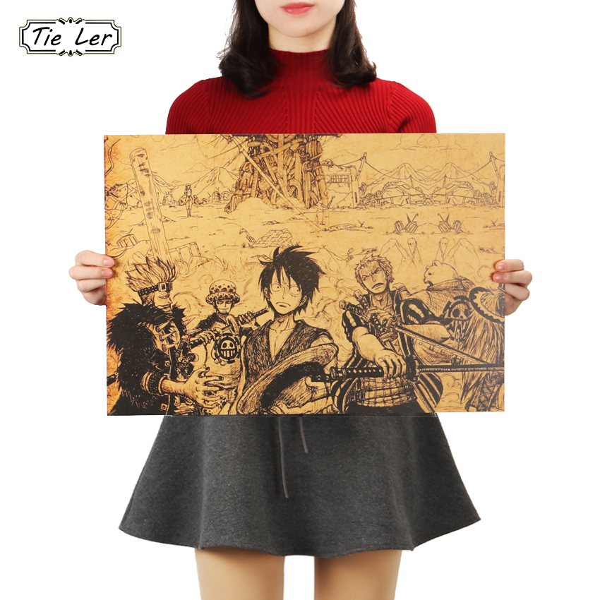 TIE LER Classic Anime One Piece Luffy Hand Drawing Poster Retro Kraft Paper Bar Cafe Home Decor Painting Wall Sticker 51x36cm