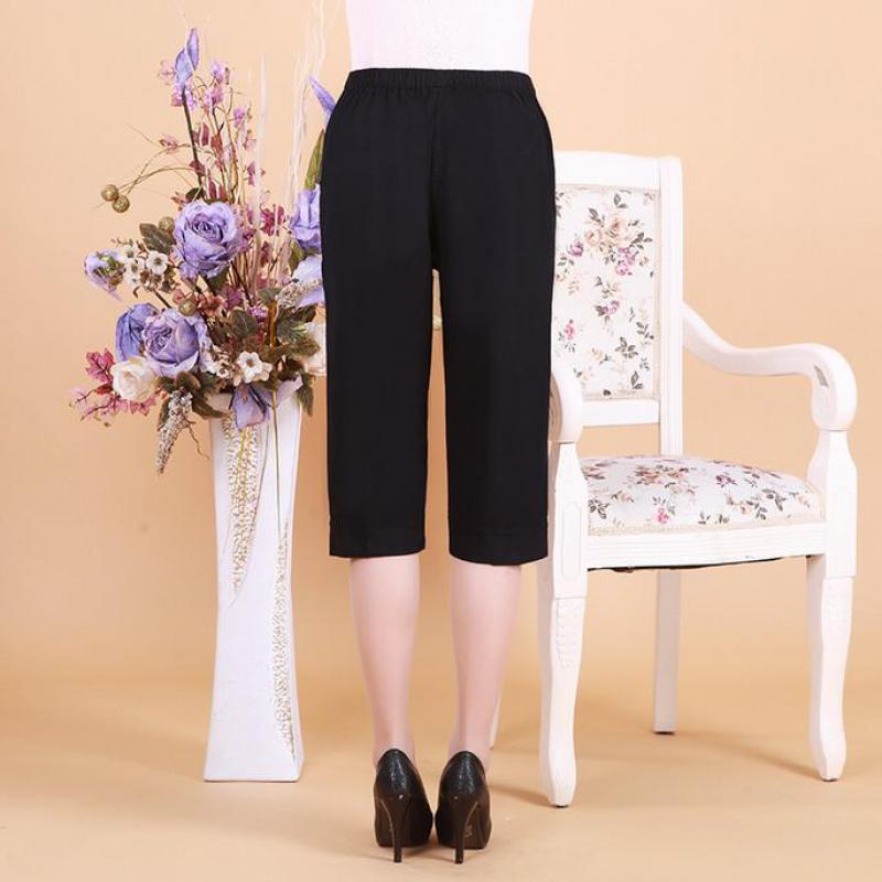 2017 Women   Pants   Knee Length Casual Regular Trousers Broadcloth Elastic Waist Solid Mid Flat Cross-  pants   Embroidery   Pants     Capris
