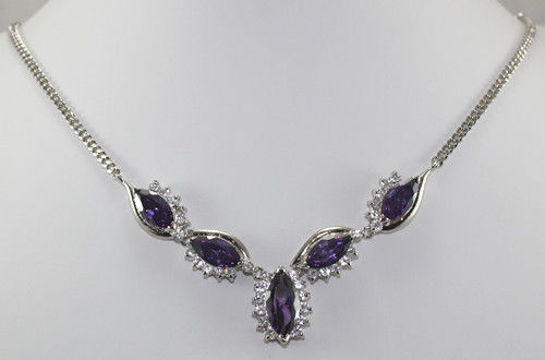 HOT! Fashion Nobby jewelry purple inlay Crystal + 18kgp Necklace