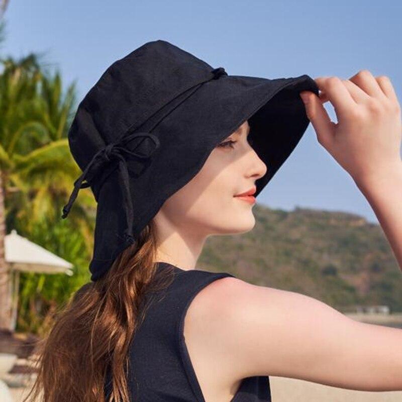 2019 New Cotton Beach Bow Hats For Women Hat Female Lady Bucket Hat Hat Summer Woman Anti-UV Panama Summer Sun Cap Viseira