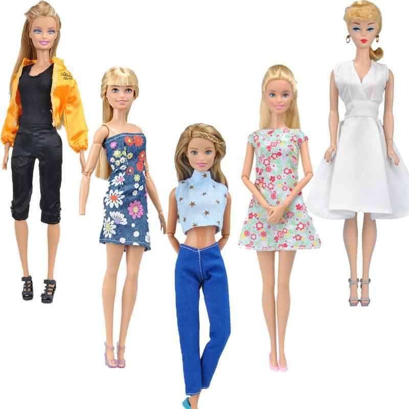 5 Outfits Moda Vestido Calças Diárias/Saia/Tanque/Sapatos Roupas Para Boneca Barbie
