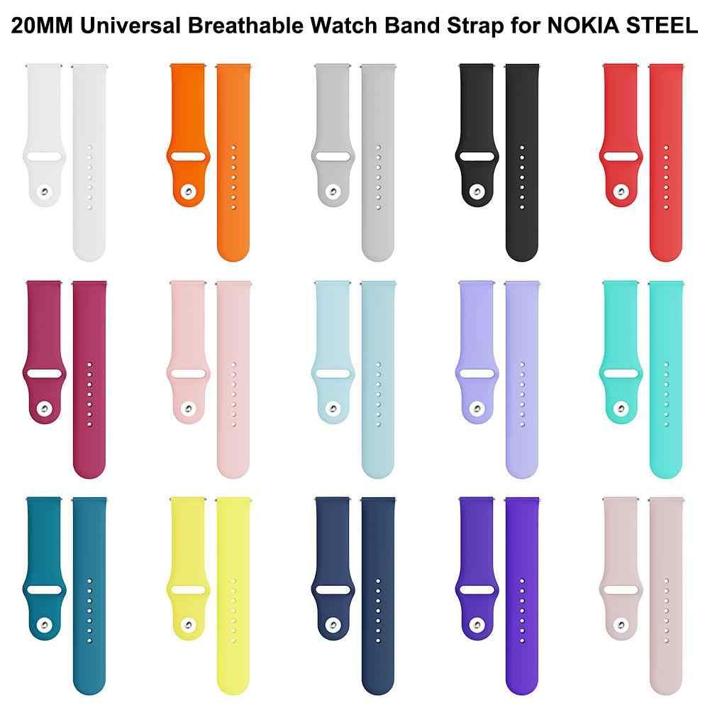 20 MM סיליקון ספורט לנשימה רצועת השעון רצועת עבור NOKIA פלדה HR 40mm/סמסונג גלקסי הילוך פעיל S2/ garmin Vivoactive 3/Amazfit