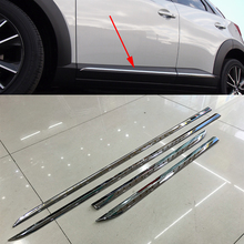 4pcs/set Car Styling Chrome Molding Door Body Strips For Mazda CX-3 2016 2017 Accessories Trim Covers External Decoration Strips