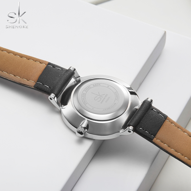 Shengke Lovers Watches Set Quartz Wrist Watch for Men and Women Simple Leather Band Saat Reloj Mujer Hombre Couple Watch