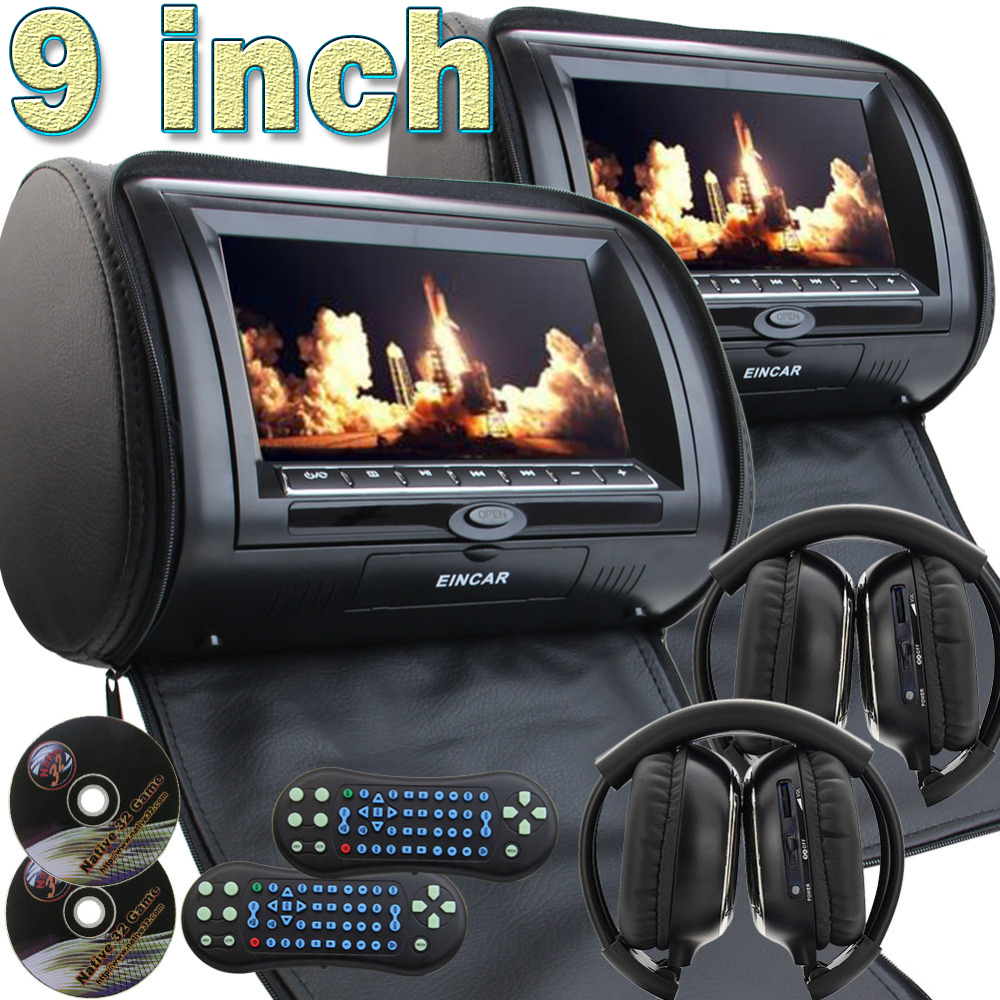 2 IR Headphone as free gitf! Pair of 9 Inch HD 1080P Digital TFT LCD Screen Auto Monitor Car Headrest DVD Player with Game Dis eincar car 9 inch car dvd pillow headrest two monitor lcd screen usb sd 32 bit game fm ir multimedia player free 2 ir headphones