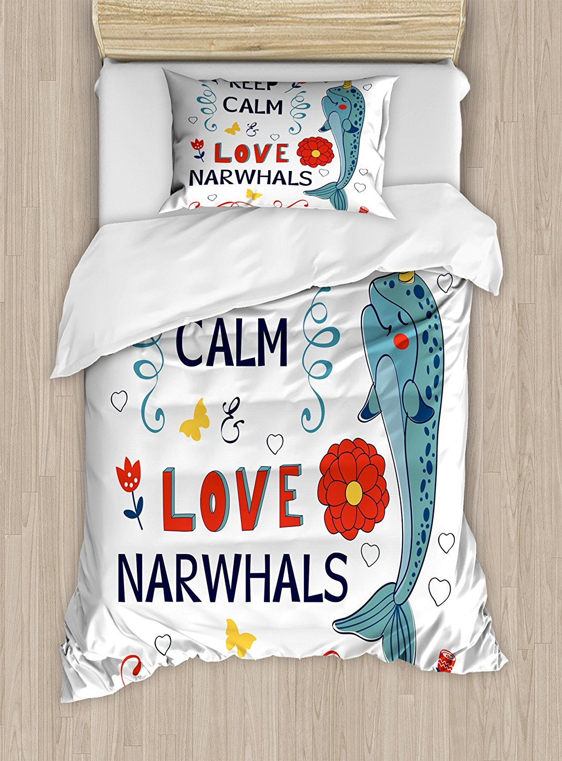 Narwhal Duvet Cover Set, Pop Culture Phrase with Unicorn of the Ocean Design Colorful Cartoon Character,4 Piece Bedding Set