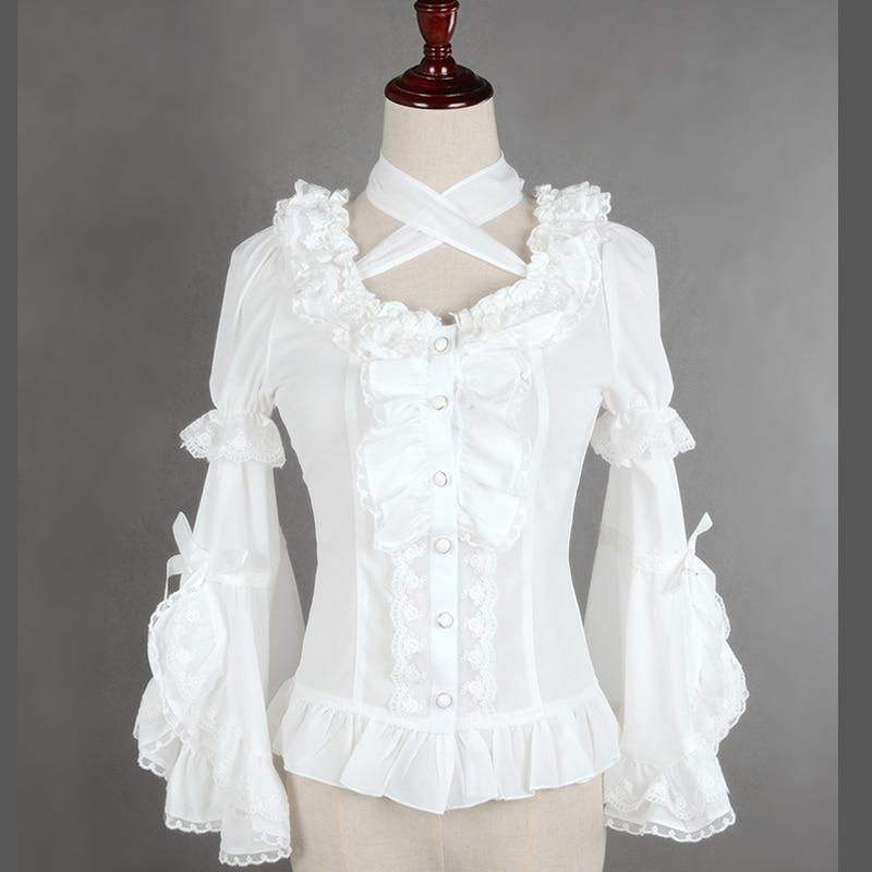 חולצת שיפון לבנה / שחורה מתוקה לוליטה - בגדי נשים