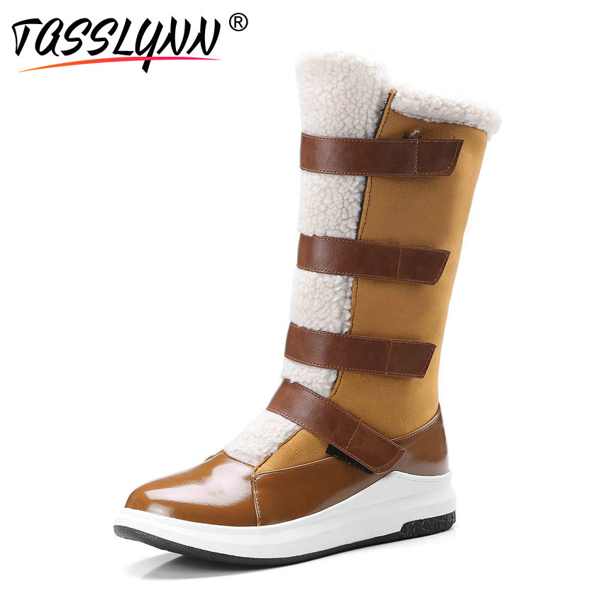 TASSLYNN 2018 Warm Snow Boots Women Round Toe Mid-calf Boots Hook Loop Autumn Shoes Med Heels Ladies Winter Boots Women 34-43 esveva 2019 women shoes mid calf boots round toe med heels winter boots short plush slip on height increasing snow boots 34 43