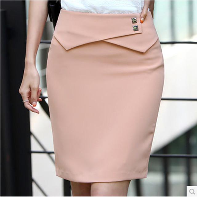 Alta calidad nueva llegada de la manera Mujeres Del Juego de Negocio Lápiz Falda Elegante Profesional OL Faldas falda azul rosa negro