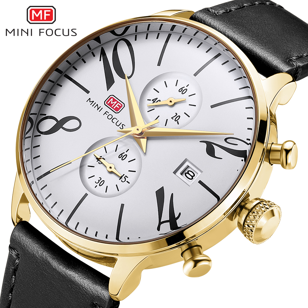 MINIFOCUS Sport Watch Men Leather Strap Mens Watches Top Brand Luxury Quartz Wrist Watch Chronograph Male Clock Men Reloj Hombre megir chronograph sport mens watches top brand luxury leather luminous quartz military watch men clock wrist watch reloj hombre