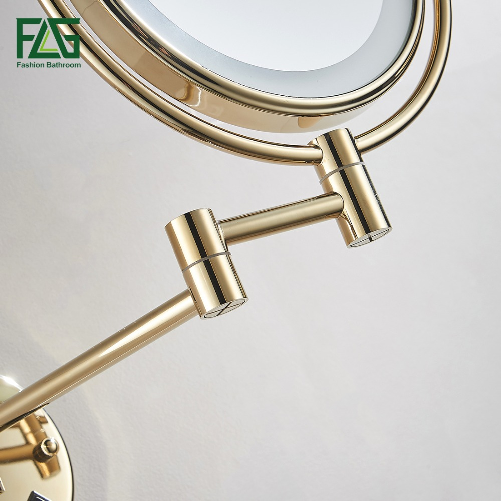 "Golden Brass LED Light Makeup Mirrors 8"" Round Dual Sides 3X /1X Mirrors Bathroom Cosmetic Mirror Wall Mount Magnifying Mirror 2"