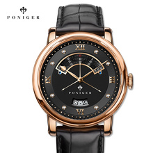 Switzerland Luxury Brand PONIGER Men's Watch Japan NH35A Automatic Mechanical MOVT Watches Men Double Dial Sapphire Clock P719-5 oulm 3 movt dial