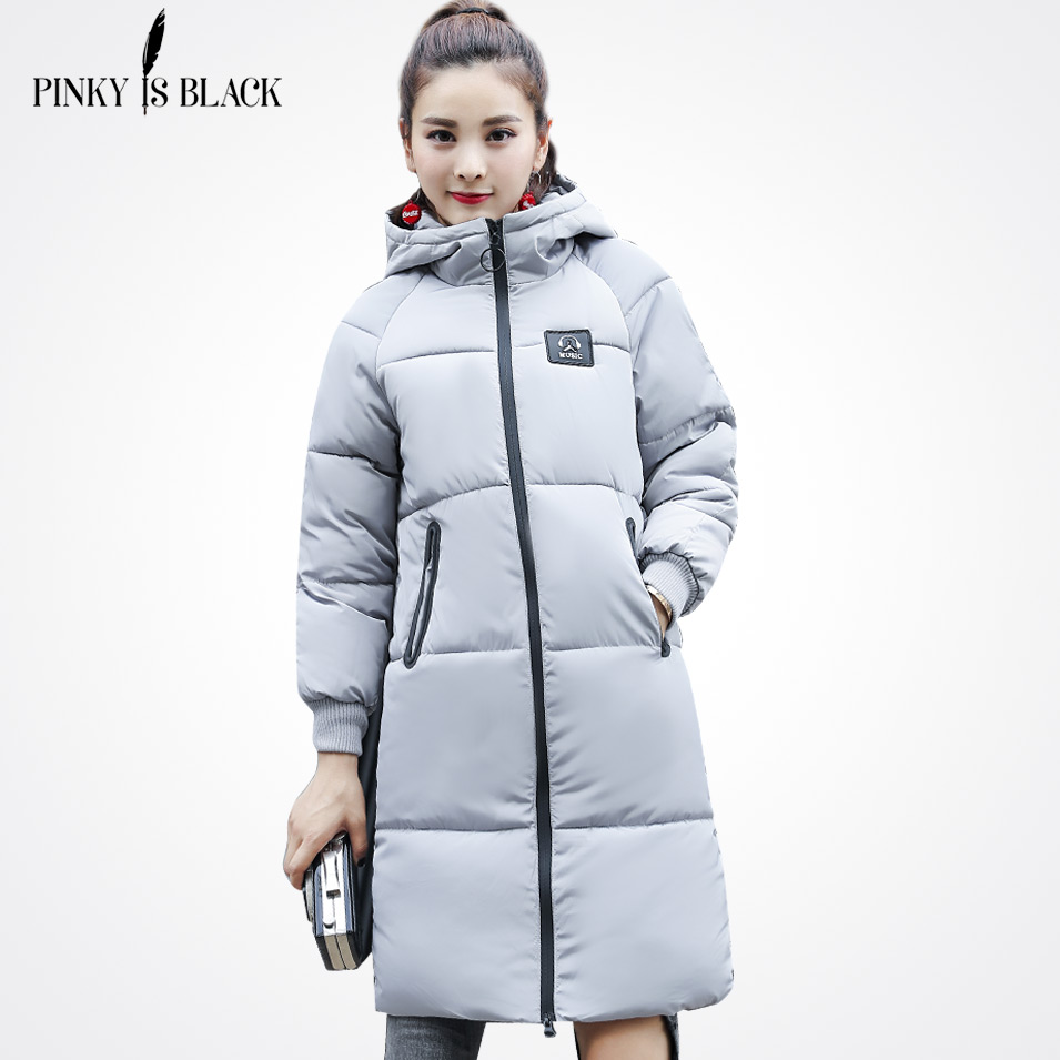 Pinky Is Black Snow Wear Long Parkas Ladies Coats 2017 Winter Coat Women Thick Slim Hooded Warm Jacket Women's Coats And Jackets korean winter jacket women large size long coat female snow wear cotton parkas hooded thick warm coats and jackets 7 colors