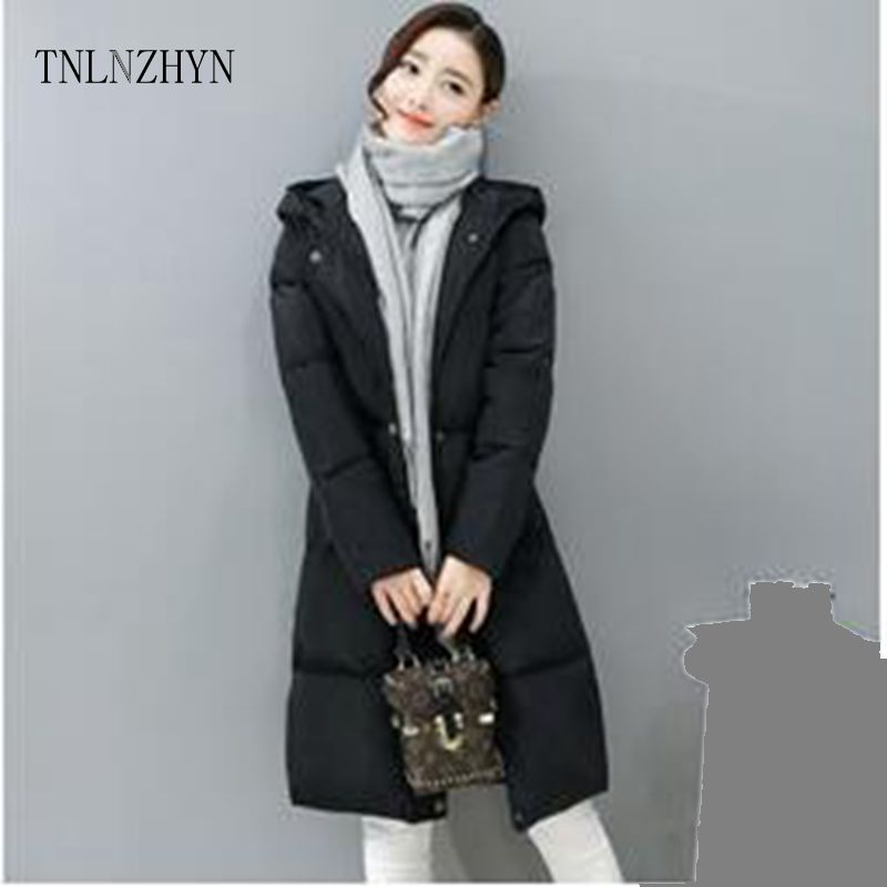 ФОТО TNLNZHYN Europe 2017 Winter coat New Fashion Big yards Hooded Ladies Cotton Clothes Thicken Temperament Cotton jacket coat Ct04