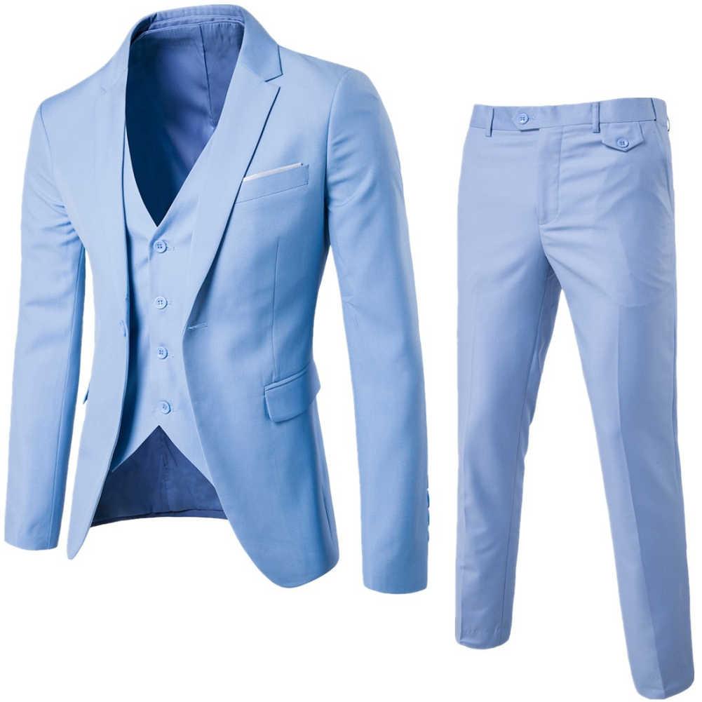 Nuevo (chaqueta + pantalón + chaleco) 3 unids/set de lujo más tamaño hombres Formal de negocios chaleco chaqueta esmoquin boda traje Formal azul clásico negro