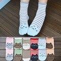 1 par novo design bonito dos desenhos animados cat meias pegadas padrão listrado de algodão mulheres meias de inverno feminino outono quente meias chão
