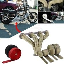 Универсальный мотоцикл негорючий турбо коллектор тепловой выхлопной тепловой обёрточная лента и нержавеющие стяжки 1,5 мм* 25 мм* 5 м