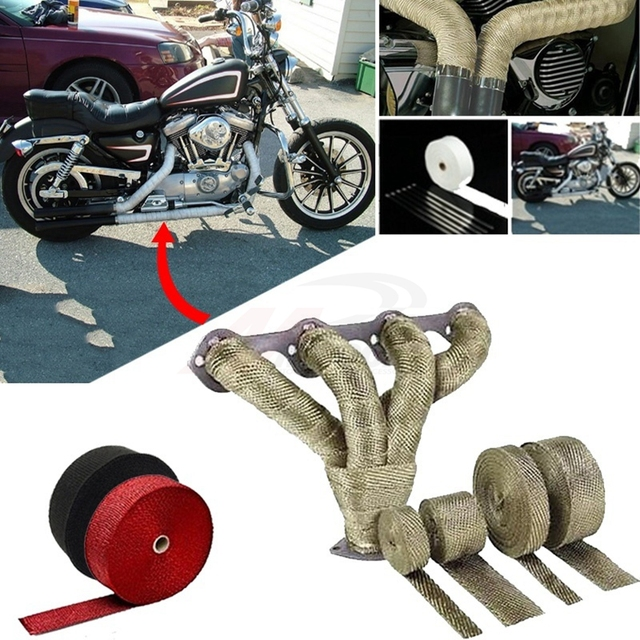 Universal MOTORCYCLE Incombustible Turbo MANIFOLD HEAT EXHAUST THERMAL WRAP TAPE & STAINLESS TIES 1.5mm*25mm*5m
