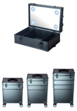 4 in 1 Makeup Case with 4 LED lights professional light box with Trolley Wheels