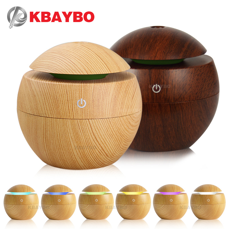USB Aroma Essential Oil Diffuser Ultrasonic Cool Mist Humidifier Air Purifier 7 Color Change LED Night light for Office Home plywood