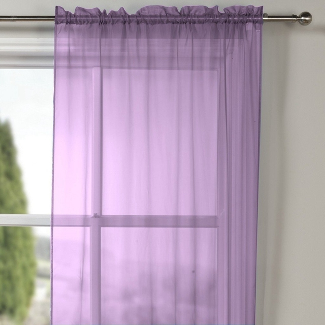 Simple Modern Organza Chinese Voile Curtains Cheap Purple Customized ...