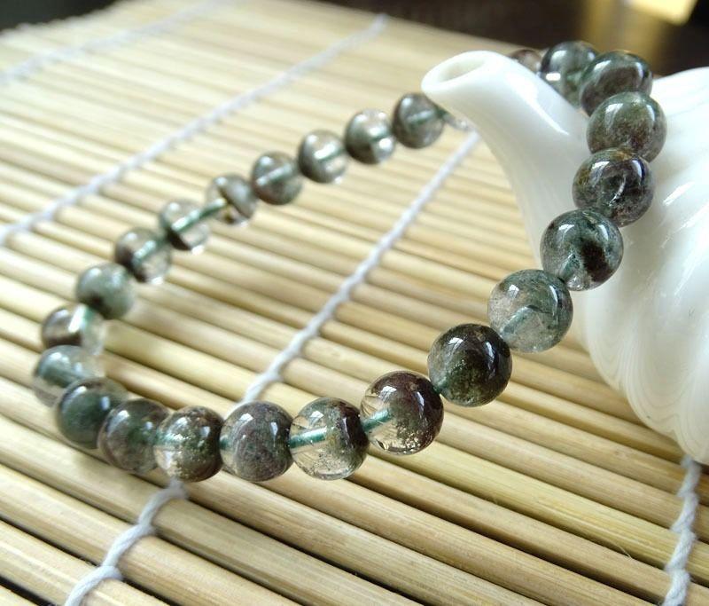 0074 Genuine Chlorite Phantom Garden Quartz Stretch Bracelet
