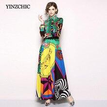 Vestidos de Fiesta largos de manga larga de mujer de verano de Otoño de verano de mujer de 2019 colores impresos mujer vestido