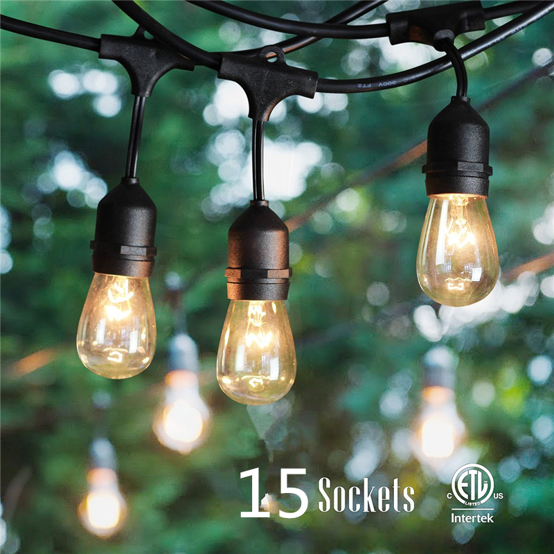 48-Foot 14.4M Outdoor Weatherproof festoon party E27 string light with 15 Hanging Sockets S14-2W LED Bulbs Included