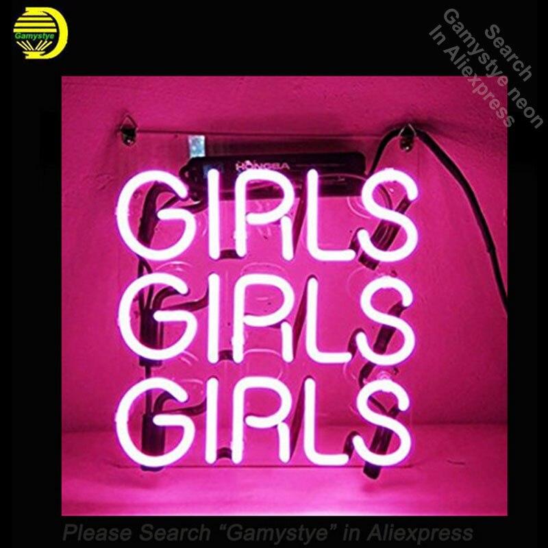Bière néon signe rose filles avec panneau en plastique transparent néon signes Tubes en verre néon ampoules enseigne artisanat bière emblématique signe 17x17