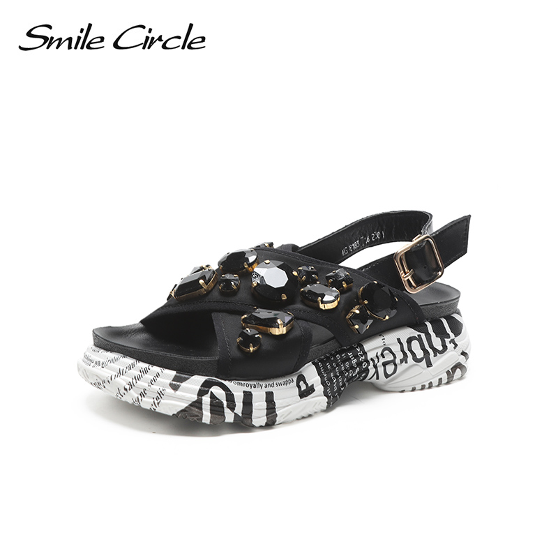 Smile Circle Summer Sandals Women Fashion Rhinestone Flat platform shoes Women sandals chaussures femme ete 2018 Summer shoes 01 women creepers shoes 2015 summer breathable white gauze hollow platform shoes women fashion sandals x525 50
