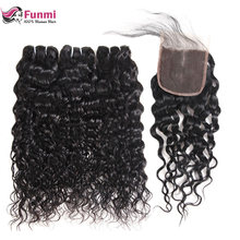 Indian Water Wave Virgin Hair Bundles with Closure Free Middle Three Part Closure with Bundles Unprocessed Human Hair Funmi(China)