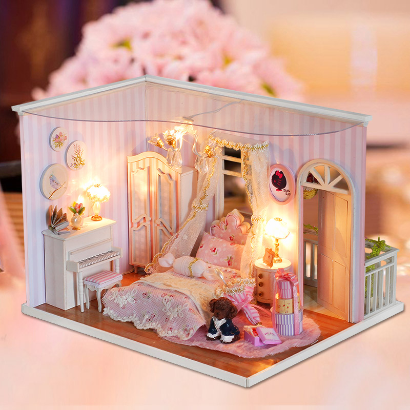 DIY Doll house Furniture Miniature Doll House Dust Wooden ...