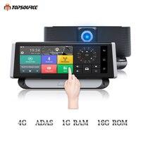 TOPSOURCE Видеорегистраторы для автомобилей 4 г ADAS gps навигации Full HD 1080 P 6,86 Android 5,1 Dashcam видео Регистраторы Двойной объектив Сенсорный экран камер