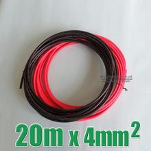 Hot Sale 20m 4mm2 Solar Cable 10 meter black negative connect 10m red positive connector 4