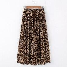 Stinlicher Fashion Women Summer Beach Leopard Casual Chiffon Max Skirt Pleated Long Skirt Ladies Elastic Waist Long Skirt
