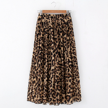 Stinlicher Mode Frauen Sommer Strand Leopard Beiläufige Chiffon Max Rock Gefaltete Lange Rock Damen Elastische Taille Langen Rock