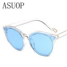 ASUOP new sunglasses women's men brand design retro transparent colorful cat eye care sunglasses female glasses UV400 sunglasses