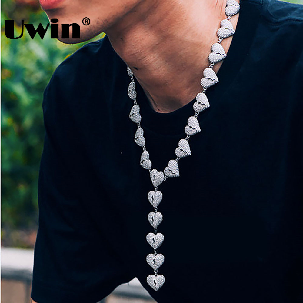 Uwin Mens Mode Blanc Or Chagrin Chaîne Collier Pendentif Coeur Plein Strass Iced Out Bijoux Rue Style Hiphop