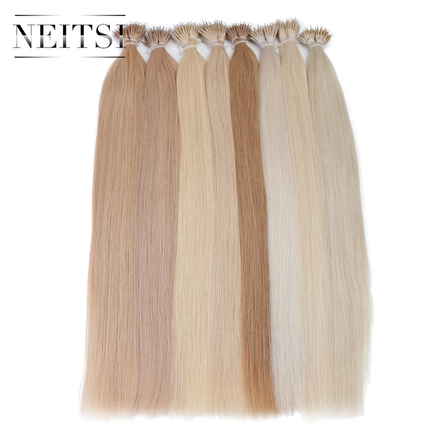 Neitsi Indian Straight Loop Micro Ring Hår Nano Ring Pärlor - Mänskligt hår (vit)