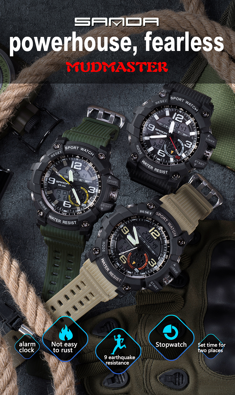 Sanda 759 Men Military Sport Watch